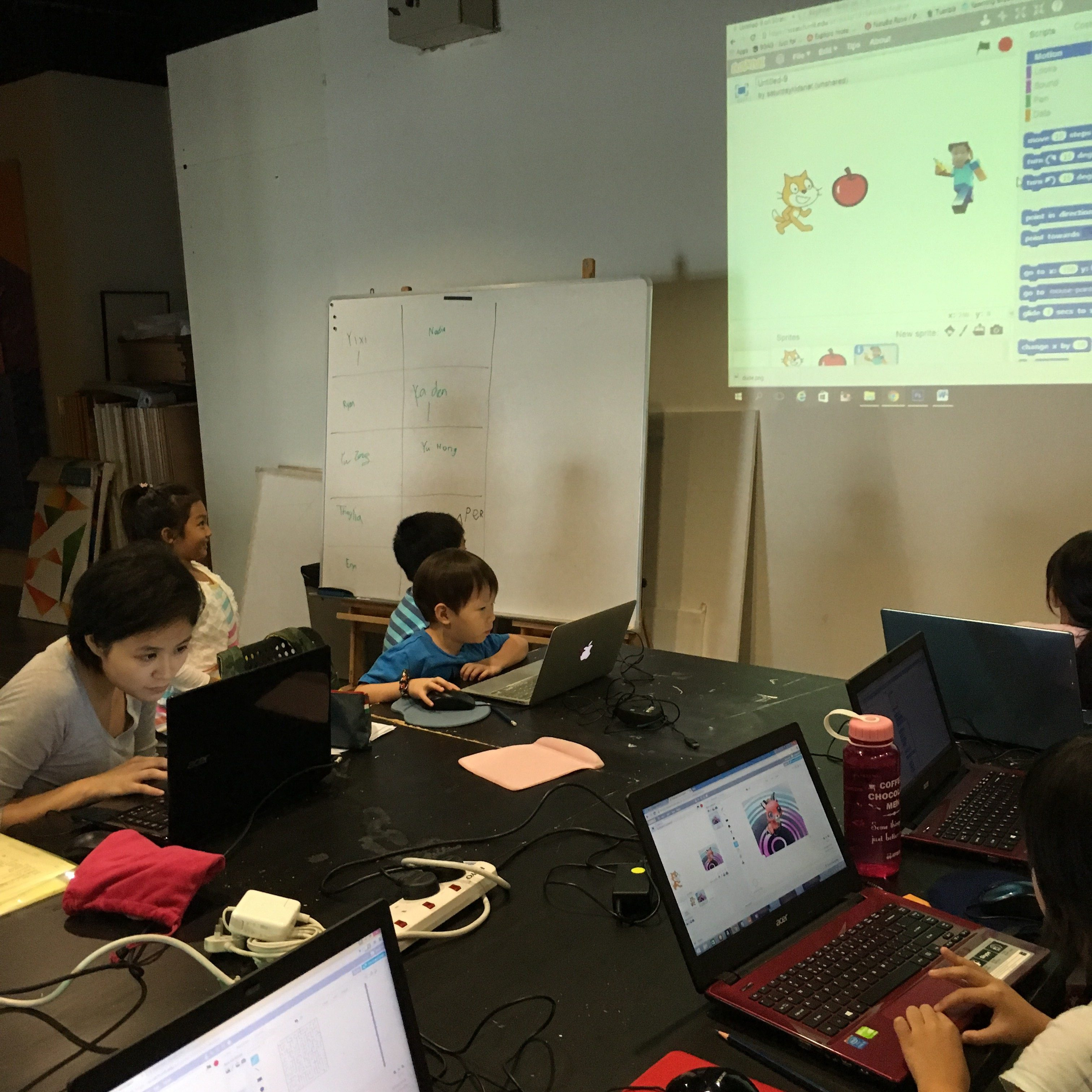 My 5 year old son coding with Scratch at a Saturday Kids coding camp